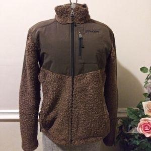 EUC Spyder Brown Nylon/Sherpa Zip Up Jacket